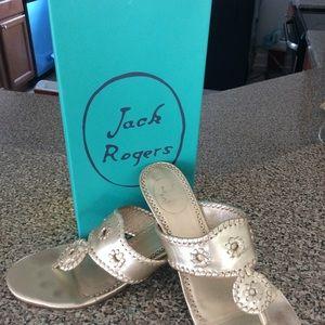 Jack Rogers stack narrow heel sandals